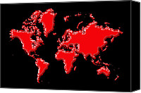 Map Of The World Photo Canvas Prints - World Map Red Canvas Print by Andrew Fare