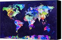 Panoramic Canvas Prints - World Map Urban Watercolor Canvas Print by Michael Tompsett