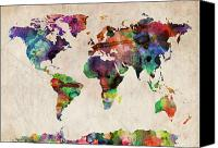 Urban Canvas Prints - World Map Watercolor Canvas Print by Michael Tompsett