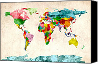 Watercolor Canvas Prints - World Map Watercolors Canvas Print by Michael Tompsett