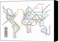 Modern Digital Art Canvas Prints - World Metro Map Canvas Print by Michael Tompsett