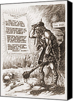Barbarian Canvas Prints - World War 1 Cartoon Of A Barbaric Canvas Print by Everett