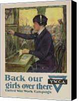Great Painting Canvas Prints - World War I YWCA poster Canvas Print by Clarence F Underwood