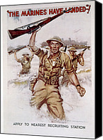 Flagg Canvas Prints - World War Ii, Marines Recruiting Poster Canvas Print by Everett