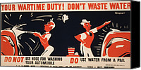 Car Wash Canvas Prints - World War Ii, Poster For A New York Canvas Print by Everett