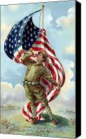 Flag Digital Art Canvas Prints - World War One Soldier Canvas Print by War Is Hell Store