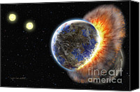 Space Art Canvas Prints - Worlds in Collision Canvas Print by Lynette Cook