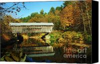 Vermont Autumn Foliage Canvas Prints - Worralls Bridge Vermont - New England Fall Landscape covered bridge Canvas Print by Jon Holiday