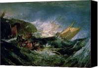 Shipwreck Painting Canvas Prints - Wreck of a Transport Ship Canvas Print by Joseph Mallord William Turner
