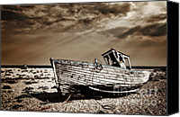 Wooden Boat Canvas Prints - Wrecked Canvas Print by Meirion Matthias