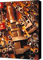 Nuts Canvas Prints - Wrench tools and nuts Canvas Print by Garry Gay