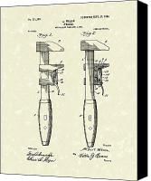 Antique Drawings Canvas Prints - Wrench Wilson 1904 Patent Art Canvas Print by Prior Art Design