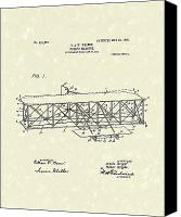 First Drawings Canvas Prints - Wright  Brothers Flying Machine 1906 Patent Art Canvas Print by Prior Art Design