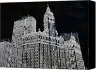 Magnificent Mile Digital Art Canvas Prints - Wrigley Building Canvas Print by Rosemary Babikan