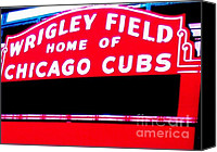 Wrigley Field Canvas Prints - Wrigley Field Sign Canvas Print by Marsha Heiken