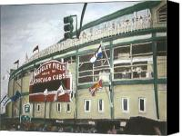 Mlb Painting Canvas Prints - Wrigley Field Canvas Print by Travis Day