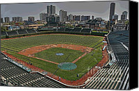 Wrigley Field Canvas Prints - Wrigley in Spring Canvas Print by David Bearden