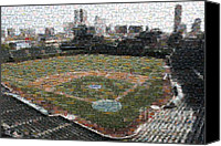 Wrigley Field Canvas Prints - Wrigley Mosaic Canvas Print by David Bearden