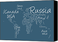 Geography Canvas Prints - Writing Text Map of the World Map Canvas Print by Michael Tompsett