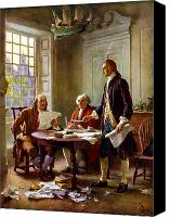 America Tapestries Textiles Canvas Prints - Writing The Declaration of Independence Canvas Print by War Is Hell Store