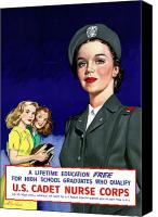Vintage Canvas Prints - WW2 US Cadet Nurse Corps Canvas Print by War Is Hell Store