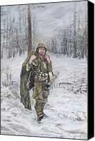 Army Pastels Canvas Prints - WWII 82nd Airborne Paratrooper Canvas Print by Phyllis Barrett