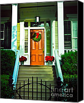 Spanish Style Canvas Prints - Xmas Door Canvas Print by Perry Webster