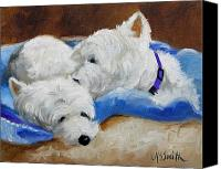 Westies Canvas Prints - Xoxoxo Canvas Print by Mary Sparrow Smith
