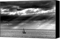 Black And White Yacht Canvas Prints - Yacht Sailing Just Off Brighton Beach Canvas Print by Alan Mackenzie