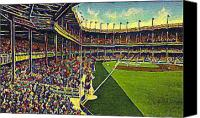 Baseball Painting Canvas Prints - Yankee Stadium From Right Field 1937 Canvas Print by Dwight Goss