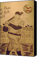 Babe Ruth Drawings Canvas Prints - Yankees Canvas Print by Paul Rapa