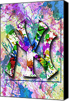 Anibal Diaz Canvas Prints - Yankees Splatter Art by GBS Canvas Print by Anibal Diaz