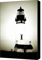 White Canvas Prints - Yaquina Head Light - Haunted Oregon Lighthouse Canvas Print by Christine Till