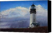 Storm Clouds Pastels Canvas Prints - Yaquina Head Storm Canvas Print by Carl Capps