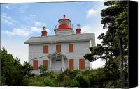 Bay Canvas Prints - Yaquina Lighthouses - Yaquina Bay Lighthouse Oregon Canvas Print by Christine Till