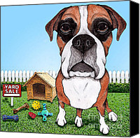 Boxer Dog Canvas Prints - Yard Sale Canvas Print by Stephanie Gerace