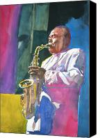 Saxaphone Painting Canvas Prints - Yardbird Parker Canvas Print by David Lloyd Glover