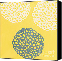 Ball Mixed Media Canvas Prints - Yellow and Gray Garden Bloom Canvas Print by Linda Woods