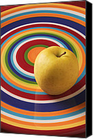 Foodstuff Canvas Prints - Yellow Apple  Canvas Print by Garry Gay
