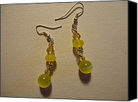 Glitter Earrings Jewelry Canvas Prints - Yellow Ball Drop Earrings Canvas Print by Jenna Green