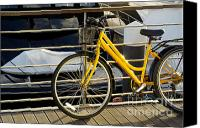 Motor Boats Canvas Prints - Yellow Bicycle Canvas Print by Carlos Caetano