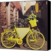 Yellow Flower Canvas Prints - Yellow Bike Canvas Print by Julia Davila-Lampe