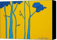 Cartoonish Canvas Prints - Yellow Blue Tree Canvas Print by Anne Marie Brown