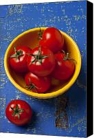Wooden Bowls Canvas Prints - Yellow bowl of tomatoes  Canvas Print by Garry Gay