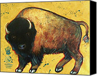 Buffalo Painting Canvas Prints - Yellow Buffalo Canvas Print by Carol Suzanne Niebuhr