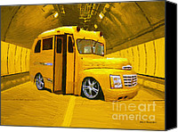 Impressionism Art Mixed Media Canvas Prints - Yellow Bus Canvas Print by Jerry L Barrett
