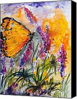 Warm Colors Painting Canvas Prints - Yellow Butterfly on Lupines Canvas Print by Ginette Fine Art LLC Ginette Callaway