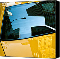 Big Apple Photo Canvas Prints - Yellow Cab Big Apple Canvas Print by David Bowman