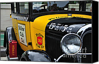 Kaye Menner Car Canvas Prints - Yellow Cab Co. - Vintage Ford Side View Canvas Print by Kaye Menner