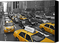 Taxi Canvas Prints - Yellow Cabs NY Canvas Print by Melanie Viola